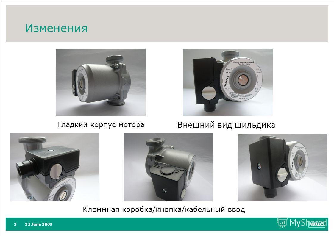 22 June 20093 Изменения Гладкий корпус мотора Внешний вид шильдика Клеммная коробка/кнопка/кабельный ввод