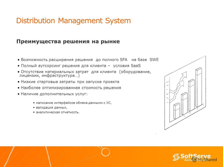 Distribution Management System Преимущества решения на рынке Возможность расширения решения до полного SFA на базе SWE Полный аутсорсинг решения для клиента – условия SaaS Отсутствие материальных затрат для клиента (оборудование, лицензии, инфраструк