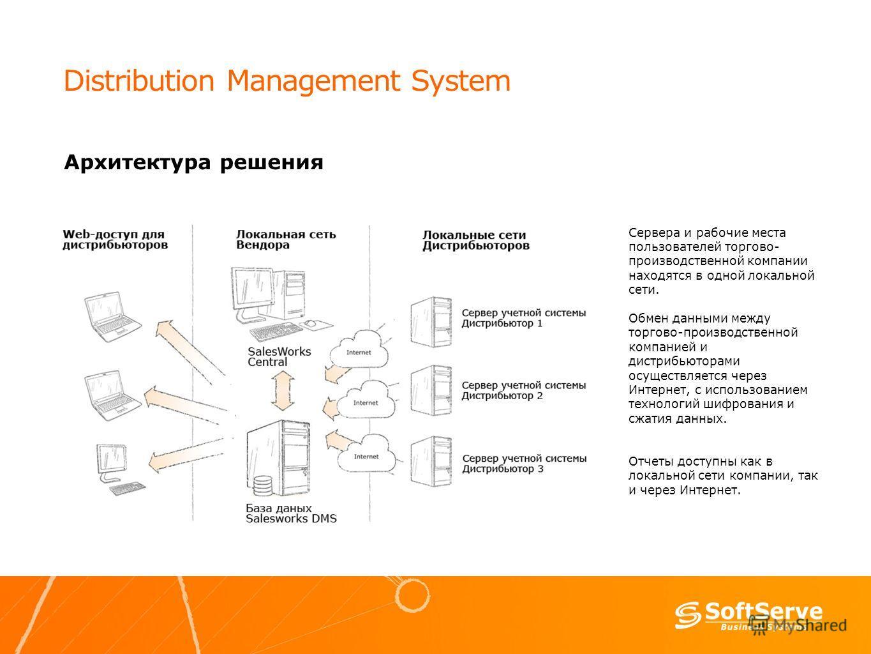Distribution Management System Архитектура решения Сервера и рабочие места пользователей торгово- производственной компании находятся в одной локальной сети. Обмен данными между торгово-производственной компанией и дистрибьюторами осуществляется чере