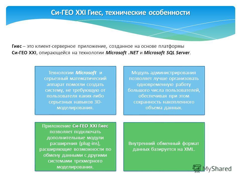 Гиес – это клиент-серверное приложение, созданное на основе платформы Си-ГЕО XXI, опирающейся на технологии Microsoft.NET и Microsoft SQL Server. Технологии Microsoft и серьезный математический аппарат помогли создать систему, не требующую от пользов