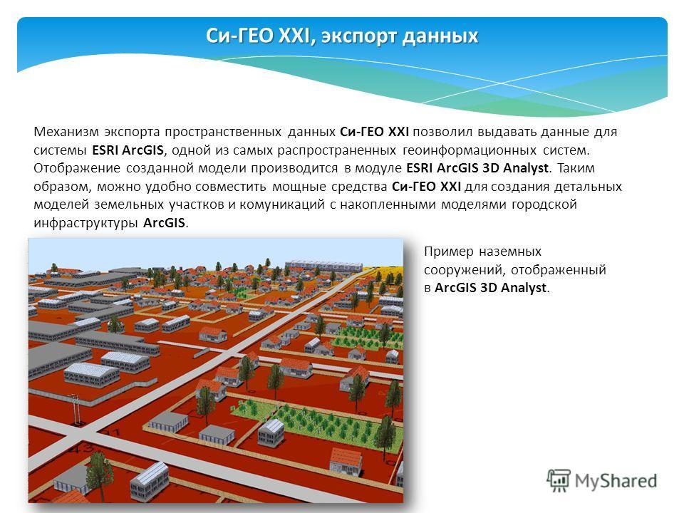 Си-ГЕО XXI, экспорт данных Механизм экспорта пространственных данных Си-ГЕО XXI позволил выдавать данные для системы ESRI ArcGIS, одной из самых распространенных геоинформационных систем. Отображение созданной модели производится в модуле ESRI ArcGIS