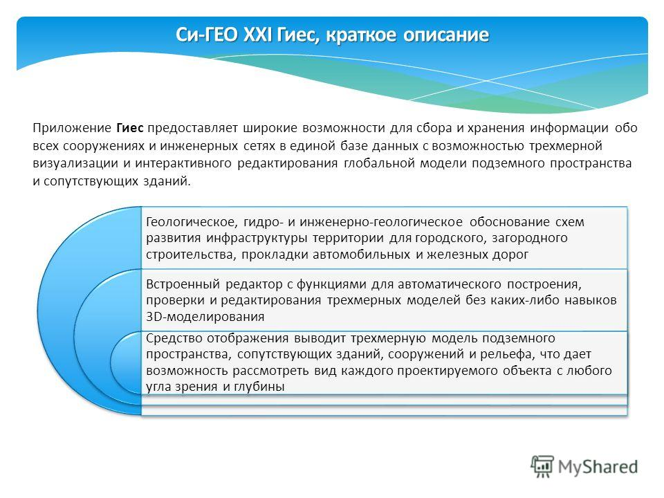 Си-ГЕО XXI Гиес, краткое описание Приложение Гиес предоставляет широкие возможности для сбора и хранения информации обо всех сооружениях и инженерных сетях в единой базе данных с возможностью трехмерной визуализации и интерактивного редактирования гл