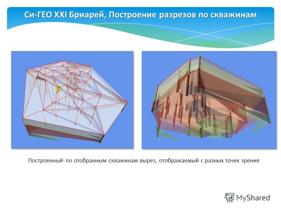 Построенный по отобранным скважинам вырез, отображаемый с разных точек зрения Си-ГЕО XXI Бриарей, Построение разрезов по скважинам
