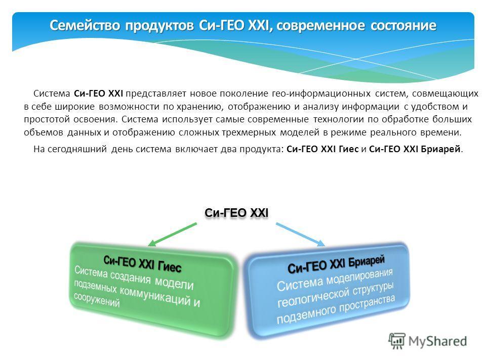 Семейство продуктов Си-ГЕО XXI, современное состояние Система Си-ГЕО XXI представляет новое поколение гео-информационных систем, совмещающих в себе широкие возможности по хранению, отображению и анализу информации с удобством и простотой освоения. Си