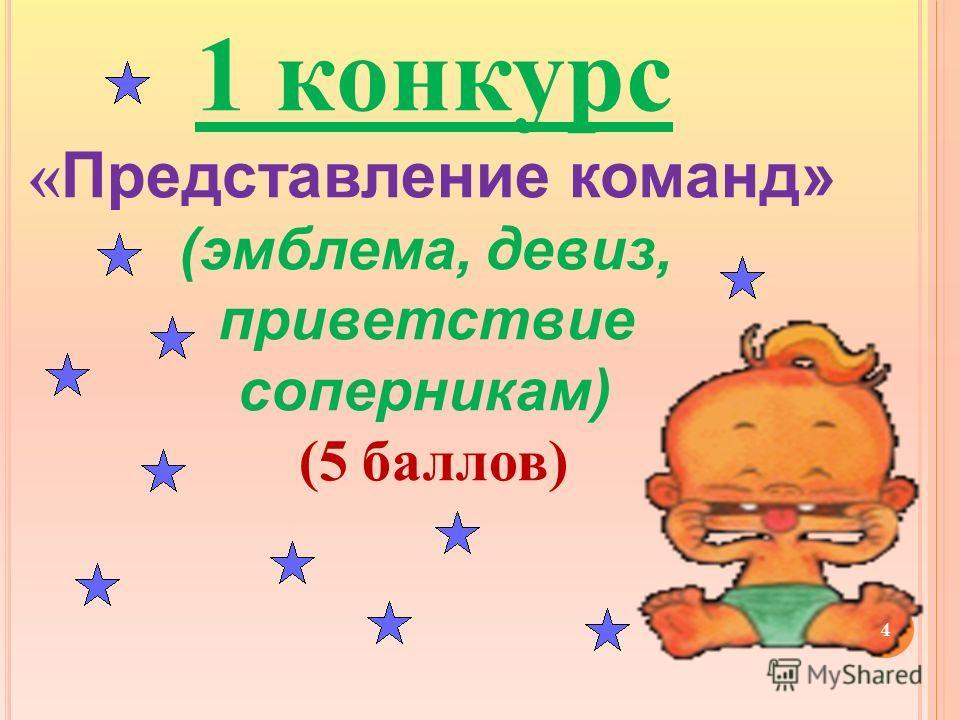 1 конкурс « Представление команд» (эмблема, девиз, приветствие соперникам) (5 баллов) 4