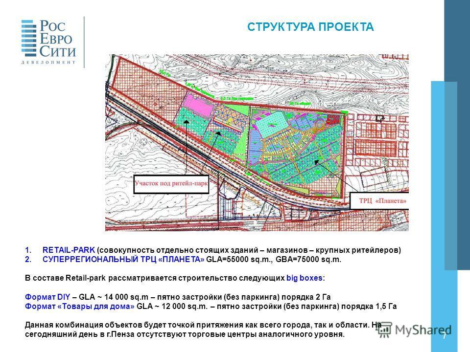 7 СТРУКТУРА ПРОЕКТА 1.RETAIL-PARK (совокупность отдельно стоящих зданий – магазинов – крупных ритейлеров) 2.СУПЕРРЕГИОНАЛЬНЫЙ ТРЦ «ПЛАНЕТА» GLA=55000 sq.m., GBA=75000 sq.m. В составе Retail-park рассматривается строительство следующих big boxes: Форм