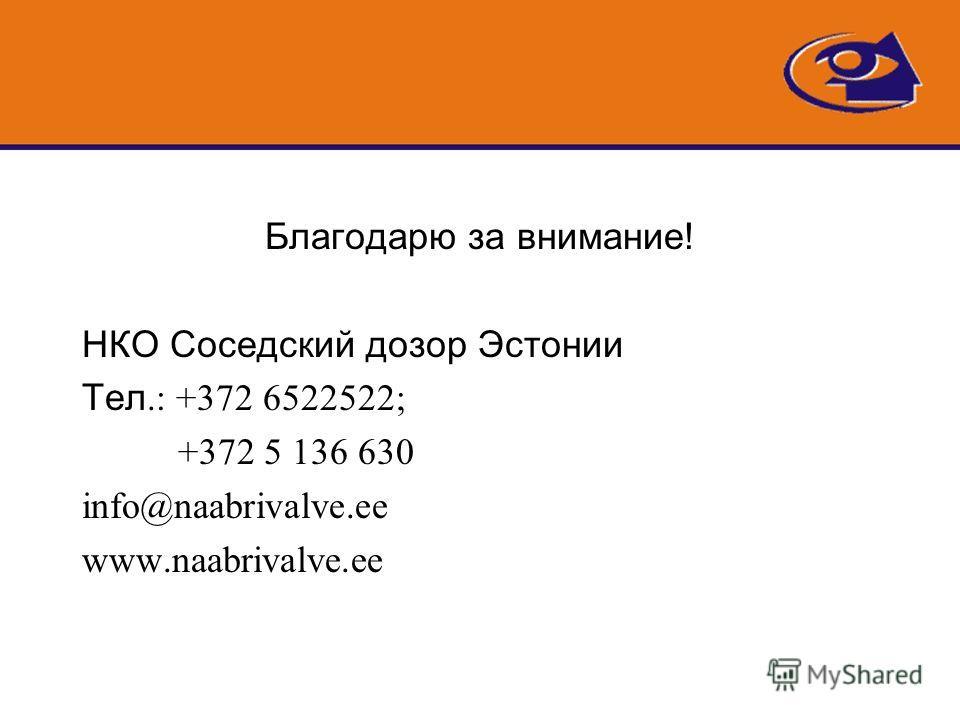 Благодарю за внимание! НКО Соседский дозор Эстонии Тел.: +372 6522522; +372 5 136 630 info@naabrivalve.ee www.naabrivalve.ee