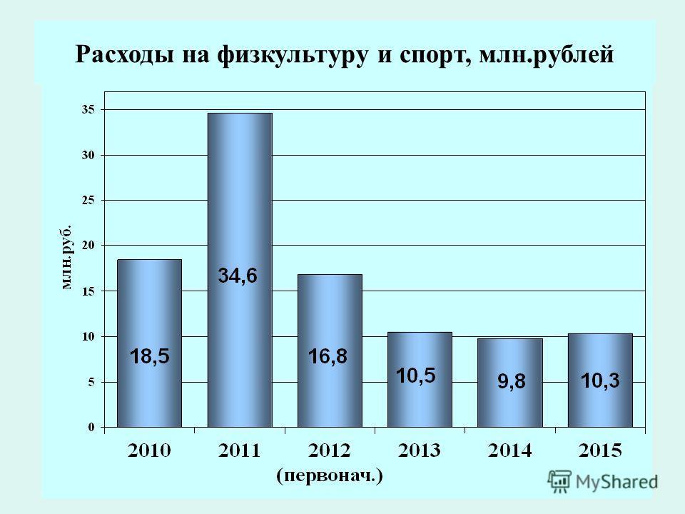 20 Расходы на физкультуру и спорт, млн.рублей