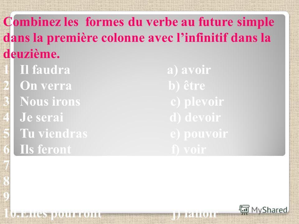 Combinez les formes du verbe au future simple dans la première colonne avec linfinitif dans la deuzième. 1.Il faudra a) avoir 2.On verra b) être 3.Nous irons c) plevoir 4.Je serai d) devoir 5.Tu viendras e) pouvoir 6.Ils feront f) voir 7.Il pleuvra g