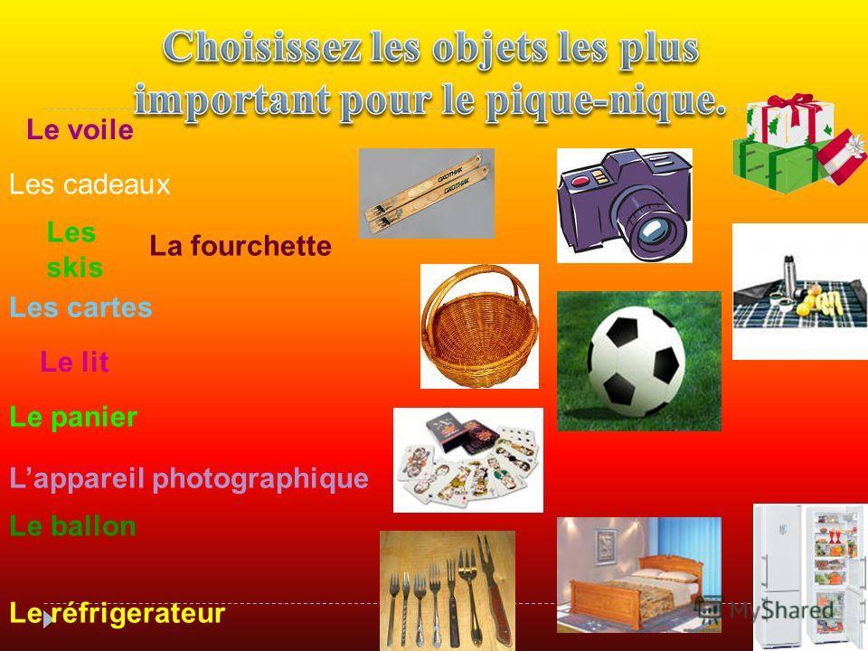 Le ballon Les cartes Les skis Le panier Lappareil photographique Le voile Le lit Le réfrigerateur La fourchette Les cadeaux