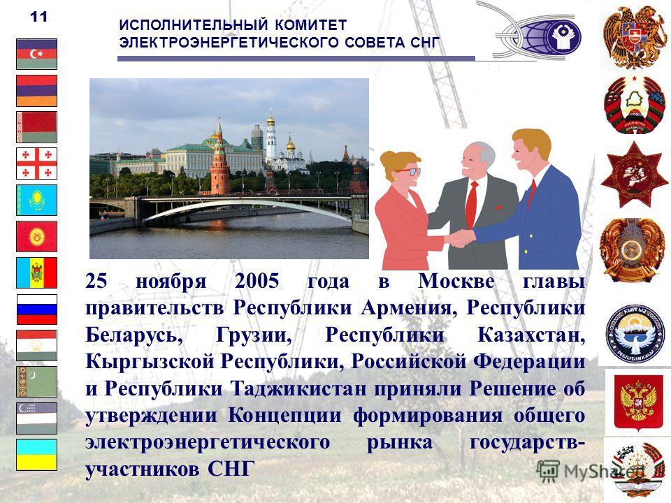 25 ноября 2005 года в Москве главы правительств Республики Армения, Республики Беларусь, Грузии, Республики Казахстан, Кыргызской Республики, Российской Федерации и Республики Таджикистан приняли Решение об утверждении Концепции формирования общего э