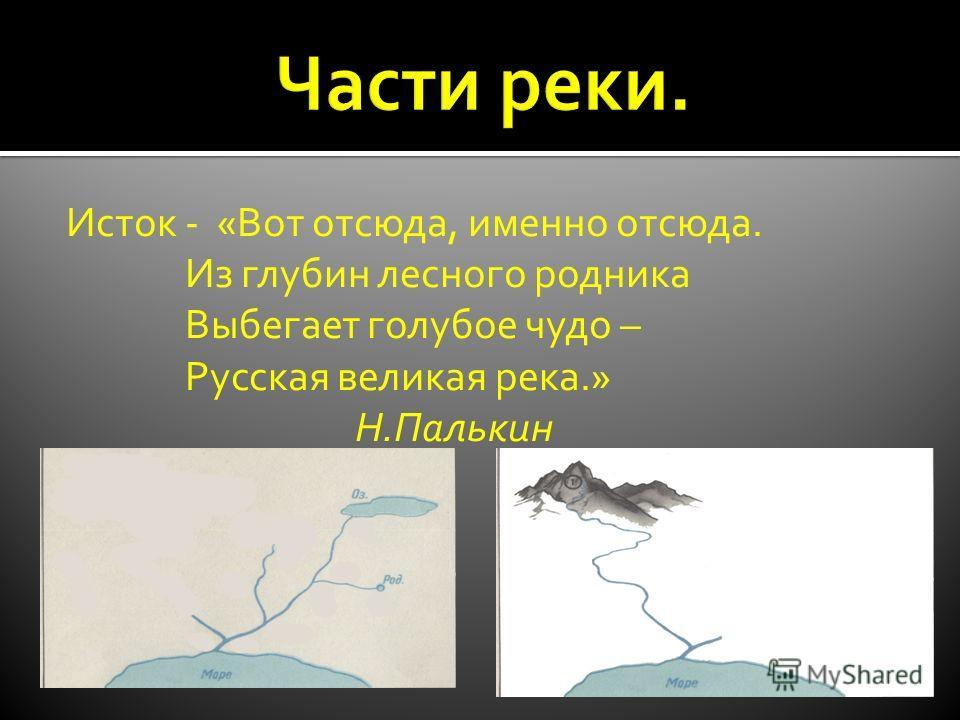 Исток - «Вот отсюда, именно отсюда. Из глубин лесного родника Выбегает голубое чудо – Русская великая река.» Н.Палькин