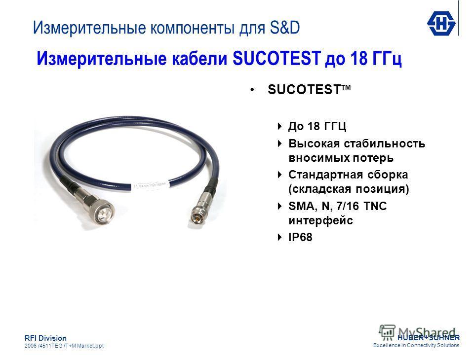 HUBER+SUHNER Excellence in Connectivity Solutions RFI Division 2006 /4511TEG /T+M Market.ppt SUCOTEST TM До 18 ГГЦ Высокая стабильность вносимых потерь Стандартная сборка (складская позиция) SMA, N, 7/16 TNC интерфейс IP68 Измерительные кабели SUCOTE