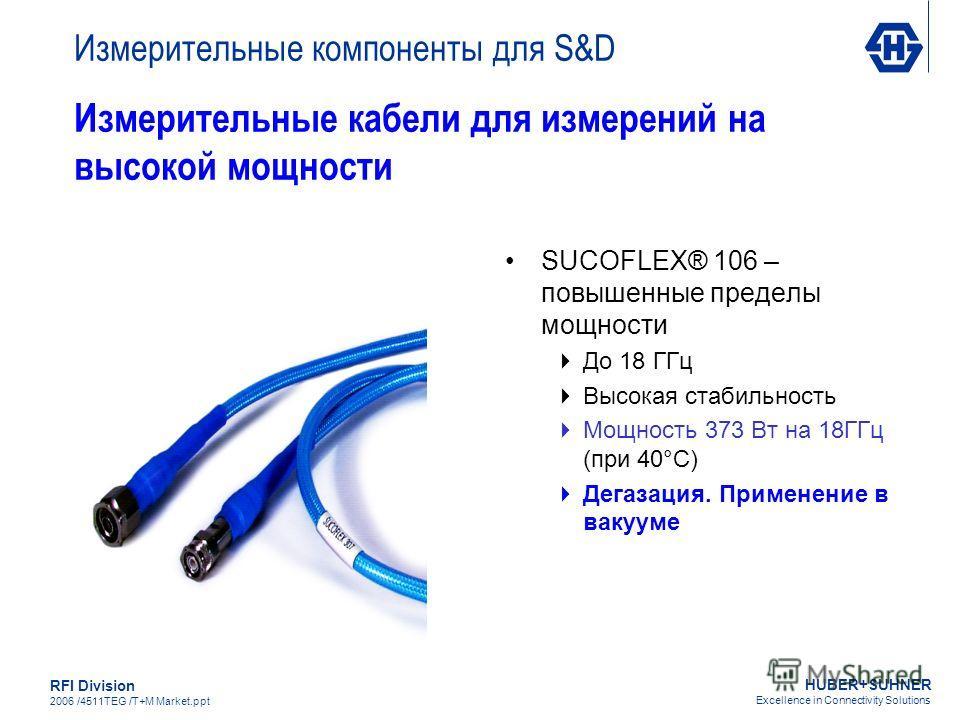 HUBER+SUHNER Excellence in Connectivity Solutions RFI Division 2006 /4511TEG /T+M Market.ppt Измерительные кабели для измерений на высокой мощности SUCOFLEX® 106 – повышенные пределы мощности До 18 ГГц Высокая стабильность Мощность 373 Вт на 18ГГц (п