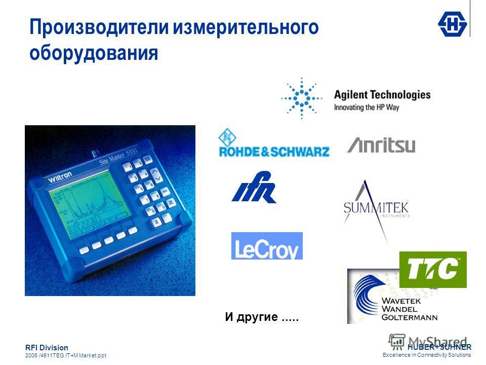 HUBER+SUHNER Excellence in Connectivity Solutions RFI Division 2006 /4511TEG /T+M Market.ppt И другие..... Производители измерительного оборудования