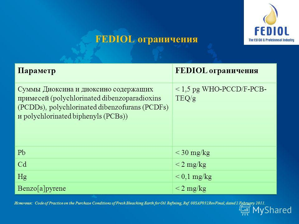 FEDIOL ограничения Источник: Code of Practice on the Purchase Conditions of Fresh Bleaching Earth for Oil Refining, Ref. 08SAF032RevFinal, dated 2 February 2011.