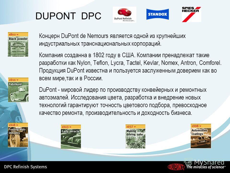 DUPONT DPC Концерн DuPont de Nemours является одной из крупнейших индустриальных транснациональных корпораций. Компания созданна в 1802 году в США. Компании пренадлежат такие разработки как Nylon, Teflon, Lycra, Tactel, Kevlar, Nomex, Antron, Comfore