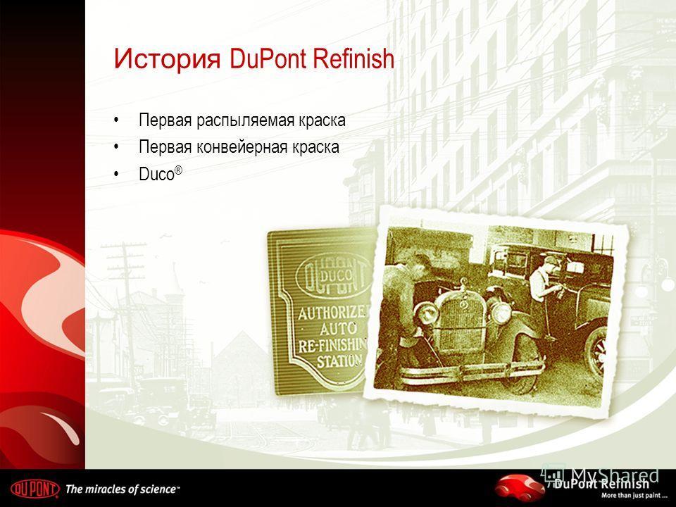 История DuPont Refinish Первая распыляемая краска Первая конвейерная краска Duco ®