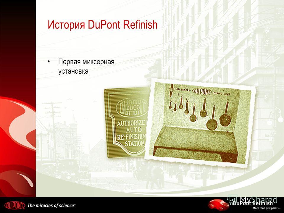 История DuPont Refinish Первая миксерная установка