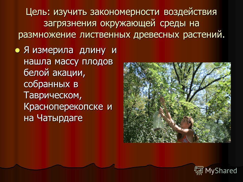 Цель: изучить закономерности воздействия загрязнения окружающей среды на размножение лиственных древесных растений. Я измерила длину и нашла массу плодов белой акации, собранных в Таврическом, Красноперекопске и на Чатырдаге Я измерила длину и нашла