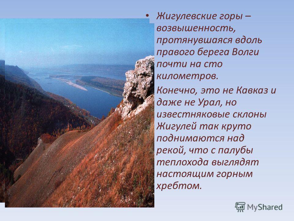 Жигулевские горы – возвышенность, протянувшаяся вдоль правого берега Волги почти на сто километров. Конечно, это не Кавказ и даже не Урал, но известняковые склоны Жигулей так круто поднимаются над рекой, что с палубы теплохода выглядят настоящим горн