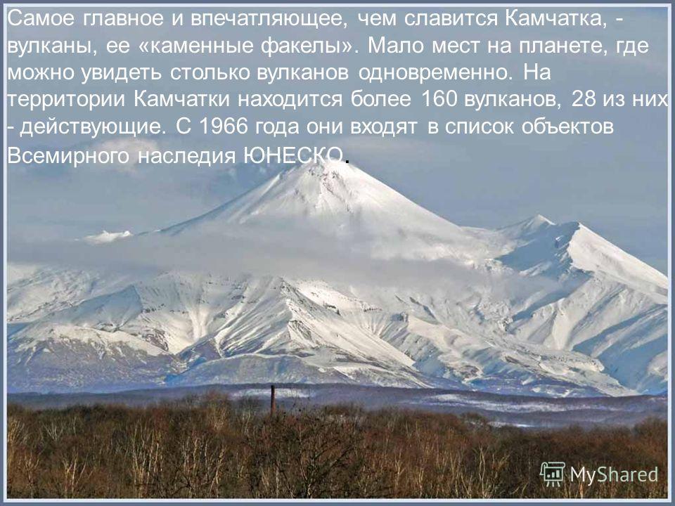 Самое главное и впечатляющее, чем славится Камчатка, - вулканы, ее «каменные факелы». Мало мест на планете, где можно увидеть столько вулканов одновременно. На территории Камчатки находится более 160 вулканов, 28 из них - действующие. С 1966 года они