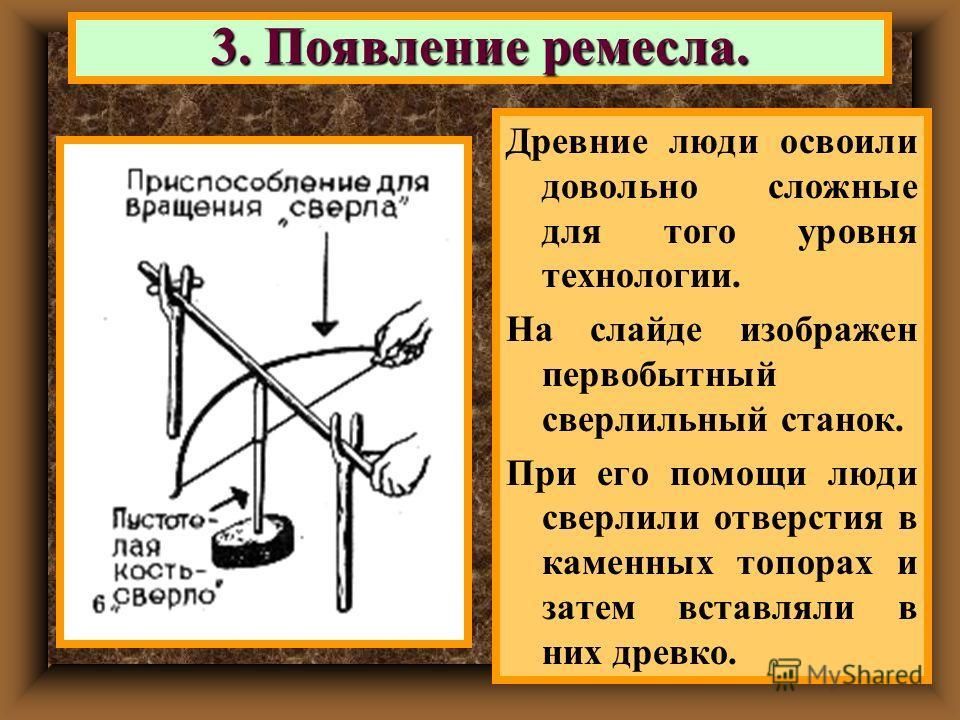 Древние люди освоили довольно сложные для того уровня технологии. На слайде изображен первобытный сверлильный станок. При его помощи люди сверлили отверстия в каменных топорах и затем вставляли в них древко. 3. Появление ремесла.