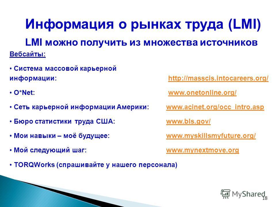 18 Информация о рынках труда (LMI) LMI можно получить из множества источников Вебсайты: Система массовой карьерной информации: http://masscis.intocareers.org/http://masscis.intocareers.org/ O*Net: www.onetonline.org/www.onetonline.org/ Сеть карьерной
