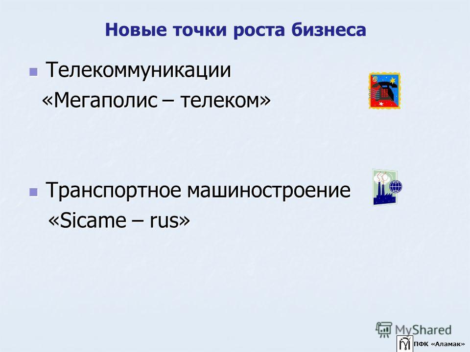 Новые точки роста бизнеса Телекоммуникации Телекоммуникации «Мегаполис – телеком» «Мегаполис – телеком» Транспортное машиностроение Транспортное машиностроение «Sicame – rus» «Sicame – rus» ПФК «Аламак»