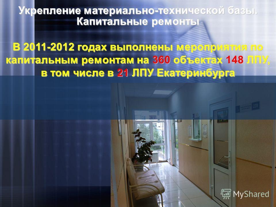 Укрепление материально-технической базы. Капитальные ремонты В 2011-2012 годах выполнены мероприятия по капитальным ремонтам на 360 объектах 148 ЛПУ, в том числе в 21 ЛПУ Екатеринбурга 5