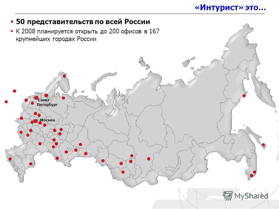 7 Находка Сахалин Санкт- Петербург Москва «Интурист» это… 50 представительств по всей России К 2008 планируется открыть до 200 офисов в 167 крупнейших городах России
