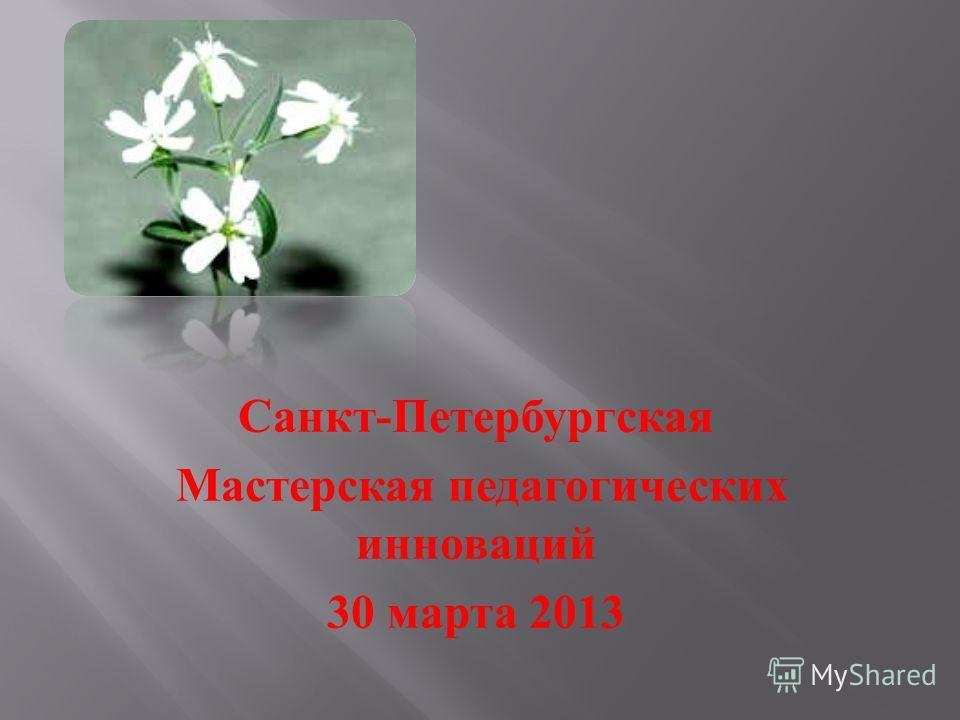 Санкт - Петербургская Мастерская педагогических инноваций 30 марта 2013
