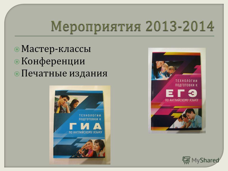 Мастер - классы Конференции Печатные издания