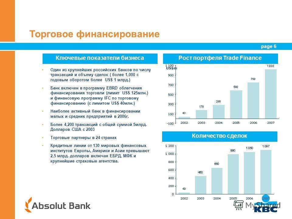 page 6 6 Торговое финансирование Один из крупнейших российских банков по числу транзакций и объему сделок ( более 1,000 с годовым оборотом более US$ 1 млрд.) Банк включен в программу EBRD облегчения финансирования торговли (лимит US$ 125млн.) и финан
