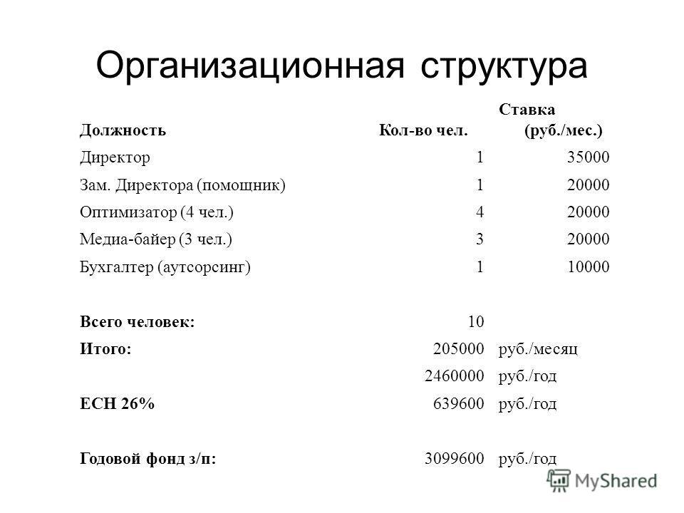 Организационная структура ДолжностьКол-во чел. Ставка (руб./мес.) Директор135000 Зам. Директора (помощник)120000 Оптимизатор (4 чел.)420000 Медиа-байер (3 чел.)320000 Бухгалтер (аутсорсинг)110000 Всего человек:10 Итого:205000руб./месяц 2460000руб./го