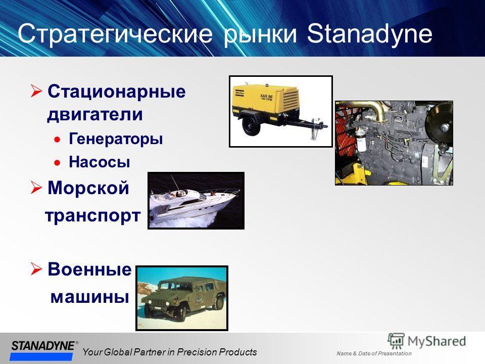 Name & Date of Presentation Your Global Partner in Precision Products Стратегические рынки Stanadyne Стационарные двигатели Генераторы Насосы Морской транспорт Военные машины