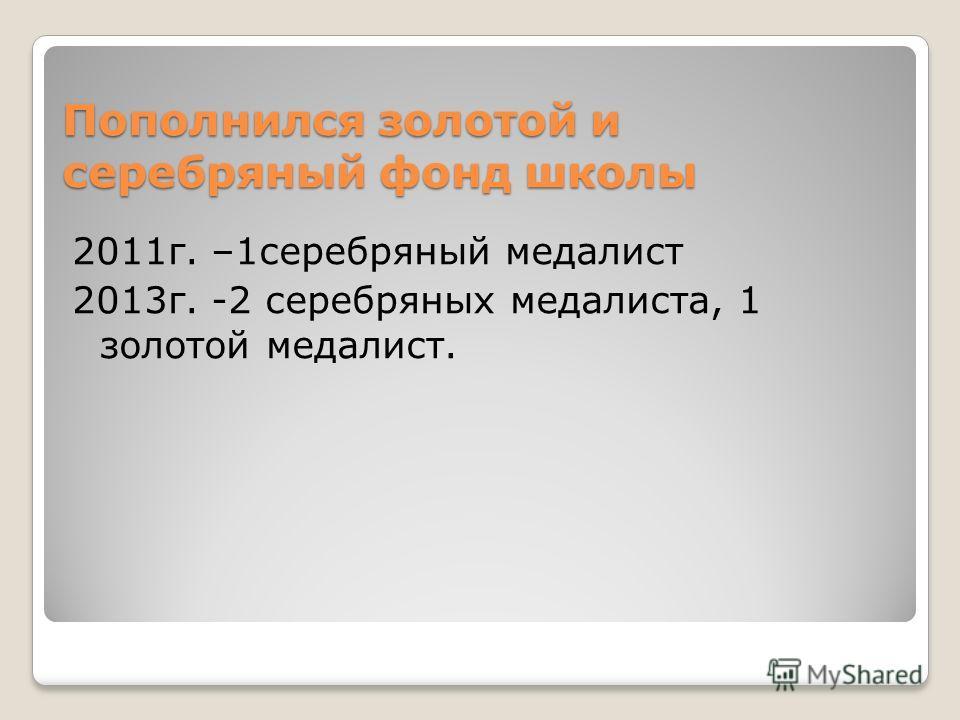 Пополнился золотой и серебряный фонд школы 2011г. –1серебряный медалист 2013г. -2 серебряных медалиста, 1 золотой медалист.