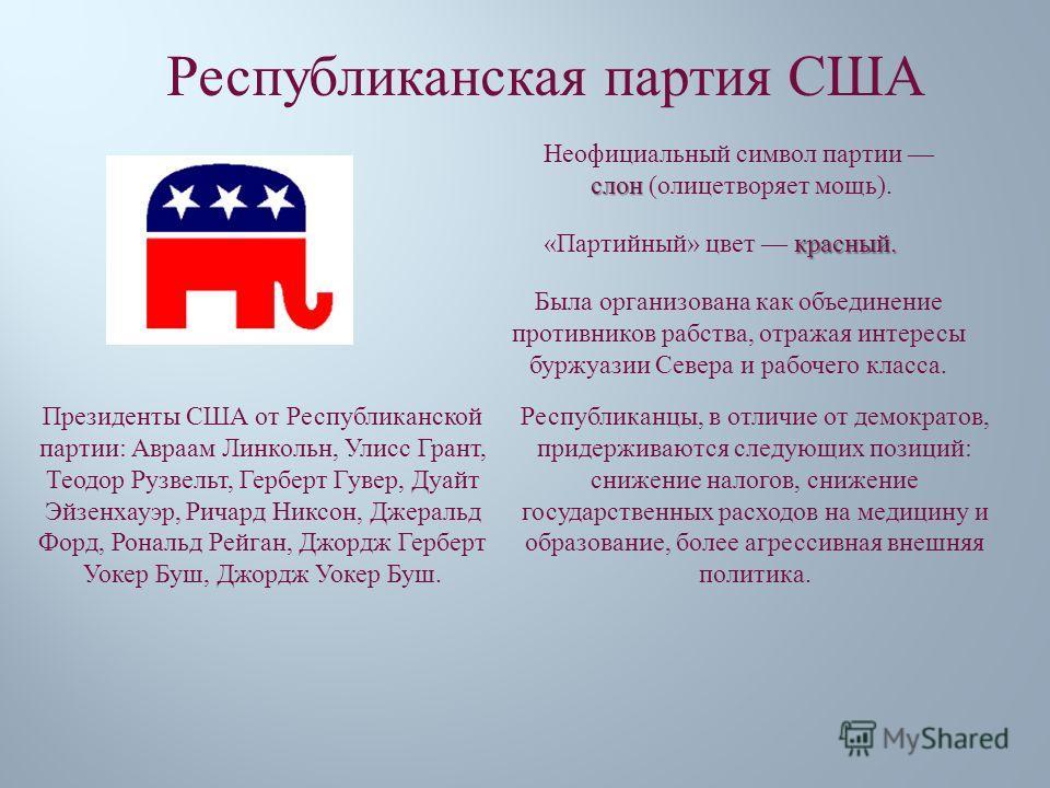 Республиканская партия США слон Неофициальный символ партии слон ( олицетворяет мощь ). красный. « Партийный » цвет красный. Президенты США от Республиканской партии : Авраам Линкольн, Улисс Грант, Теодор Рузвельт, Герберт Гувер, Дуайт Эйзенхауэр, Ри
