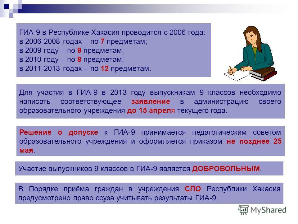 ГИА-9 в Республике Хакасия проводится с 2006 года: в 2006-2008 годах – по 7 предметам; в 2009 году – по 9 предметам; в 2010 году – по 8 предметам; в 2011-2013 годах – по 12 предметам. Участие выпускников 9 классов в ГИА-9 является ДОБРОВОЛЬНЫМ. Для у