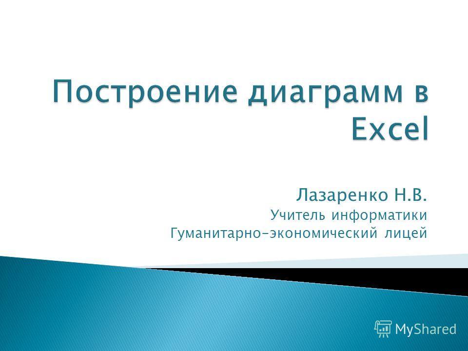 Лазаренко Н.В. Учитель информатики Гуманитарно-экономический лицей
