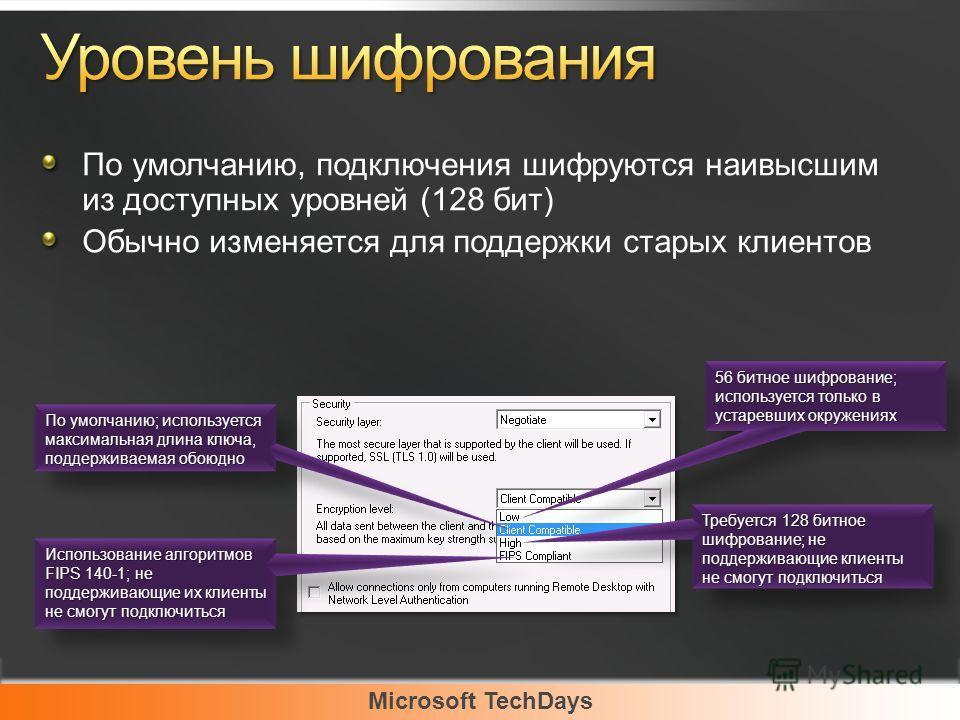 Microsoft TechDays По умолчанию, подключения шифруются наивысшим из доступных уровней (128 бит) Обычно изменяется для поддержки старых клиентов 56 битное шифрование; используется только в устаревших окружениях По умолчанию; используется максимальная