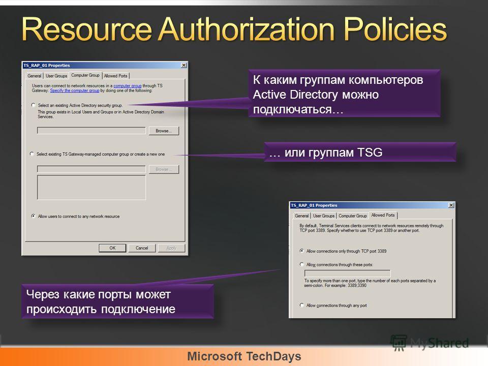 Microsoft TechDays К каким группам компьютеров Active Directory можно подключаться… … или группам TSG Через какие порты может происходить подключение