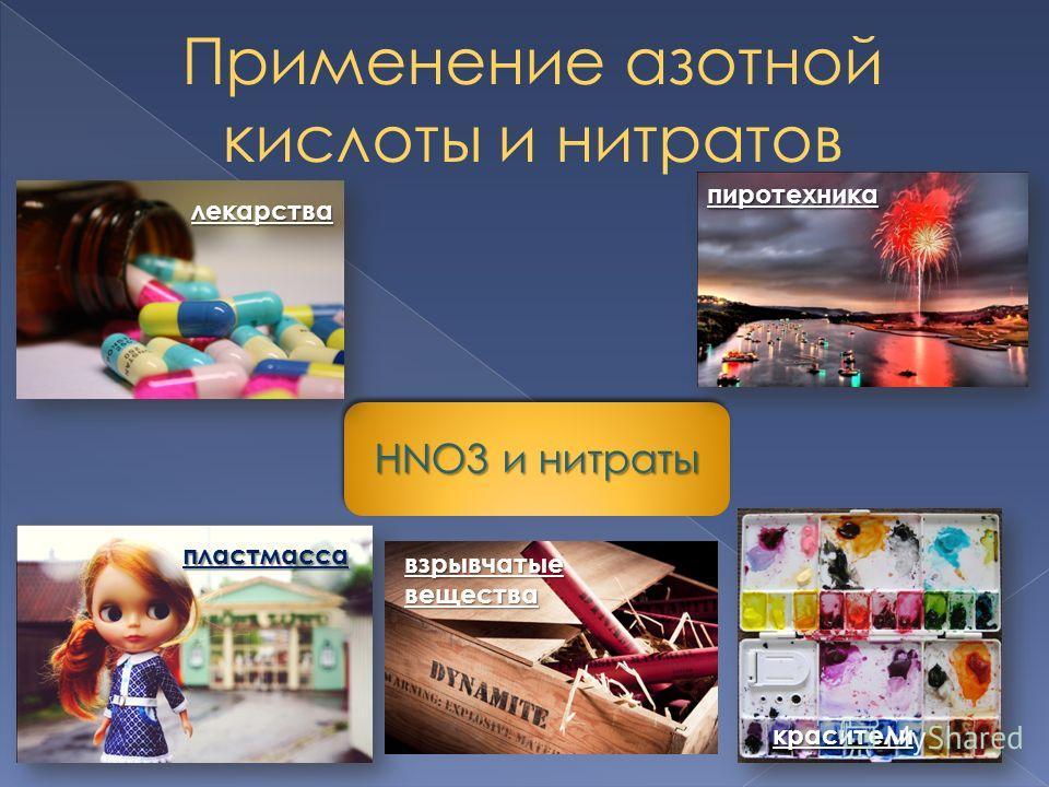 Применение азотной кислоты и нитратов HNO3 и нитраты пластмасса пиротехника лекарства взрывчатыевещества красители