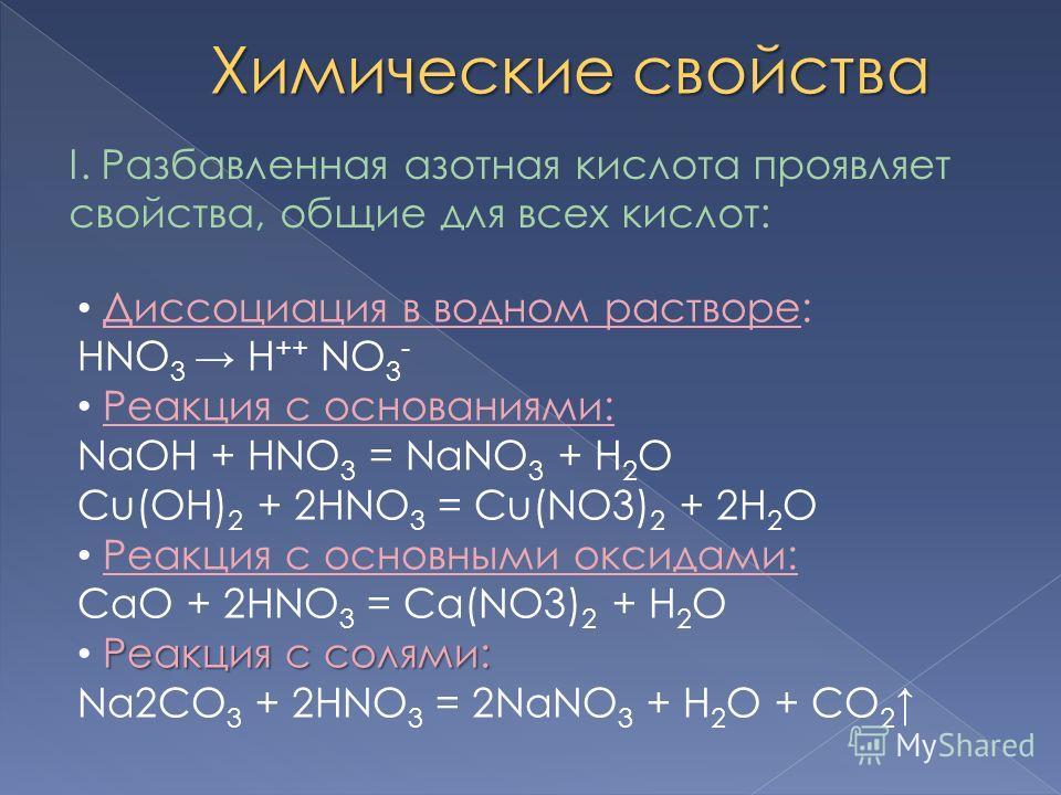 Химические свойства I. Разбавленная азотная кислота проявляет свойства, общие для всех кислот: Диссоциация в водном растворе: HNO 3 H ++ NO 3 - Реакция с основаниями: NaOH + HNO 3 = NaNO 3 + H 2 O Cu(OH) 2 + 2HNO 3 = Cu(NO3) 2 + 2H 2 O Реакция с осно