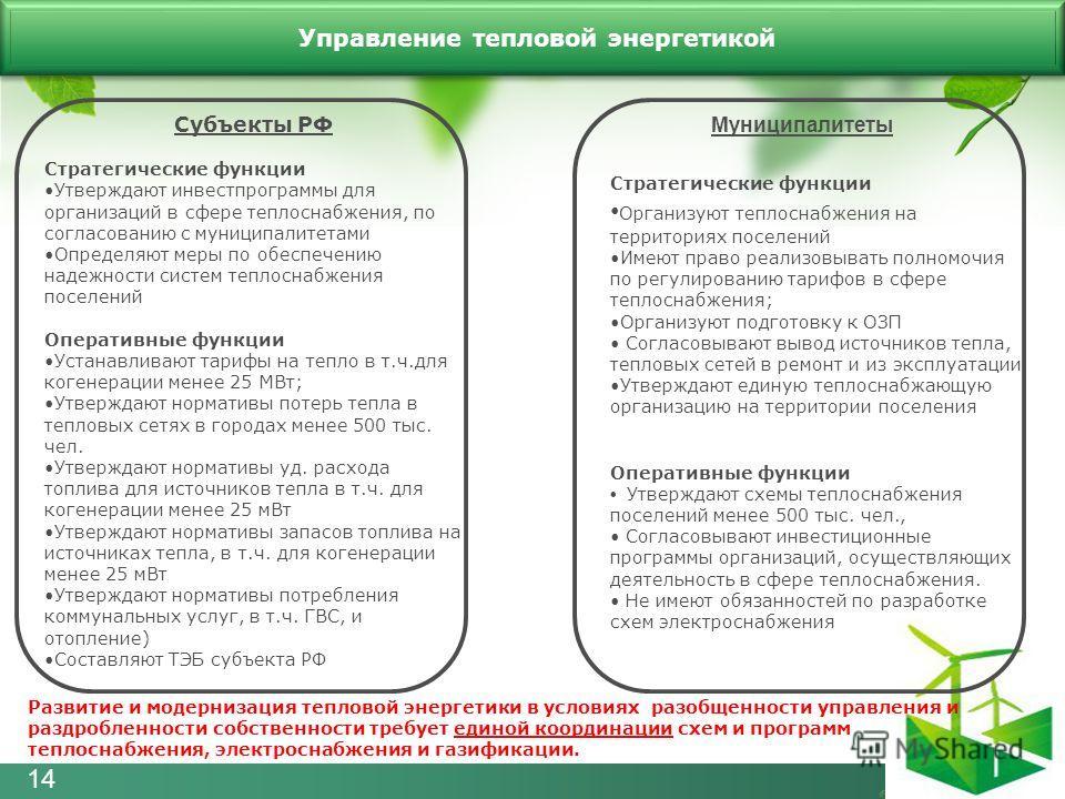 Субъекты РФ Стратегические функции Утверждают инвестпрограммы для организаций в сфере теплоснабжения, по согласованию с муниципалитетами Определяют меры по обеспечению надежности систем теплоснабжения поселений Оперативные функции Устанавливают тариф