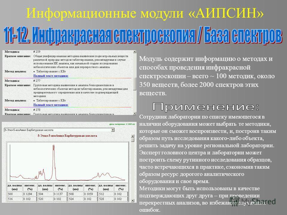 Информационные модули «АИПСИН» Модуль содержит информацию о методах и способах проведения инфракрасной спектроскопии – всего ~ 100 методик, около 350 веществ, более 2000 спектров этих веществ. Сотрудник лаборатории по списку имеющегося в наличии обор