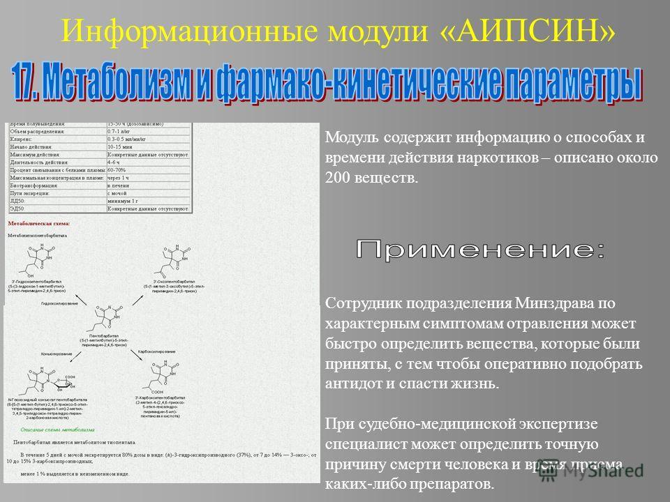 Информационные модули «АИПСИН» Модуль содержит информацию о способах и времени действия наркотиков – описано около 200 веществ. Сотрудник подразделения Минздрава по характерным симптомам отравления может быстро определить вещества, которые были приня