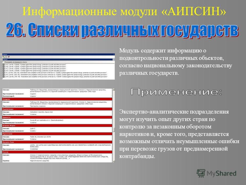 Информационные модули «АИПСИН» Модуль содержит информацию о подконтрольности различных объектов, согласно национальному законодательству различных государств. Экспертно-аналитические подразделения могут изучить опыт других стран по контролю за незако