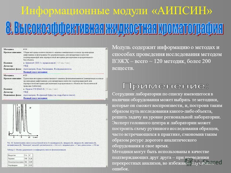 Информационные модули «АИПСИН» Модуль содержит информацию о методах и способах проведения исследования методом ВЭЖХ – всего ~ 120 методик, более 200 веществ. Сотрудник лаборатории по списку имеющегося в наличии оборудования может выбрать те методики,