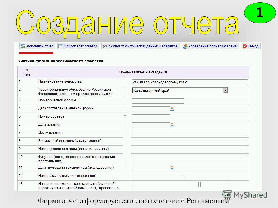 1 Форма отчета формируется в соответствии с Регламентом.